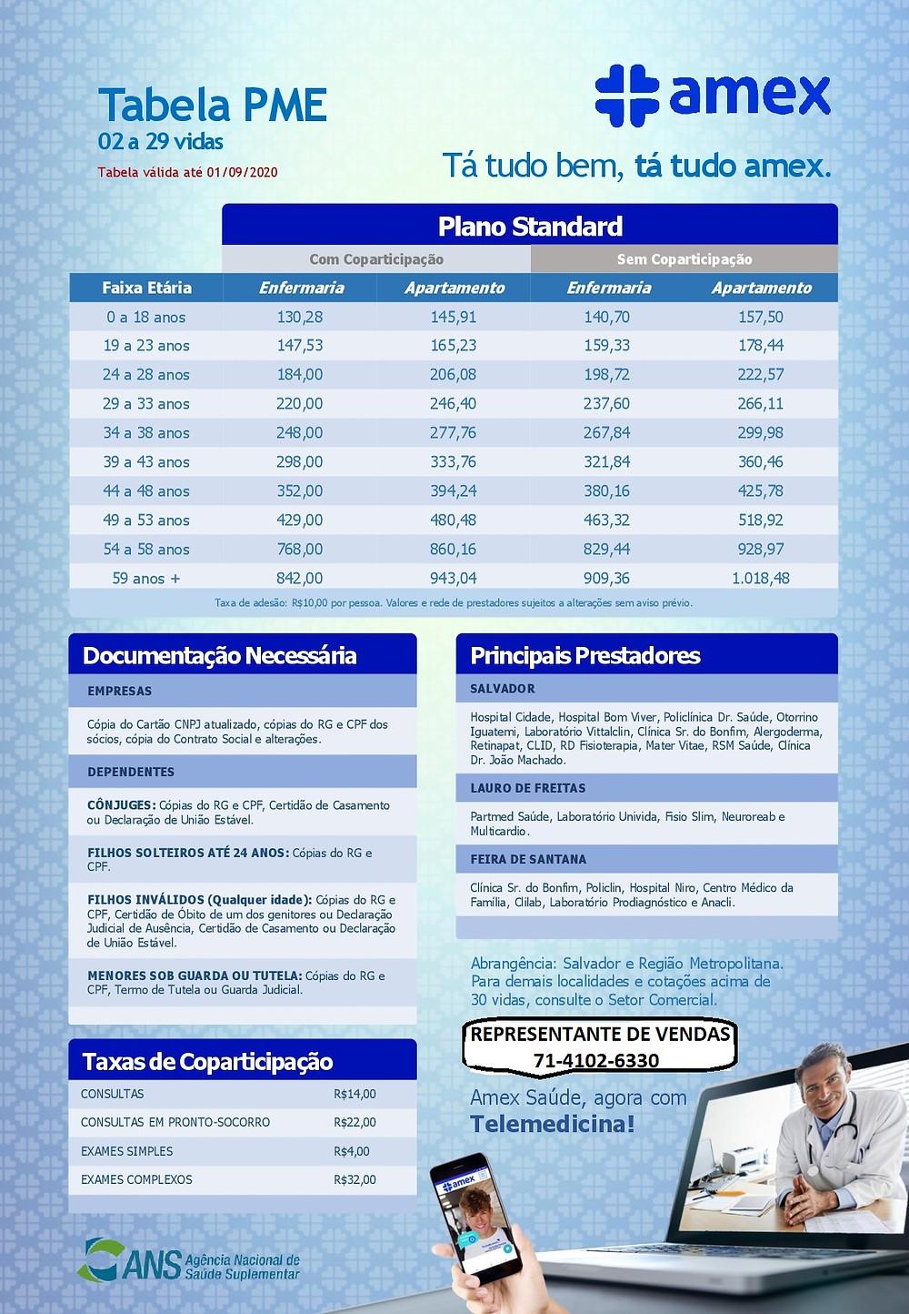 Tabela de Preçoa Amex Saude - Bahia Planos de Saúde Empresariais