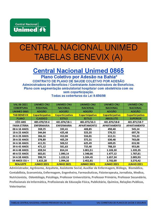 UNIMED_CENTRAL_NACIONAL_TABELAS DE PREÇOS EM SALVADOR, FEIRA DE SANTANA, CAMACARI