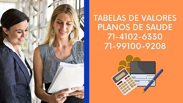 TABELAS DE VALORES PLANOS MEDICOS