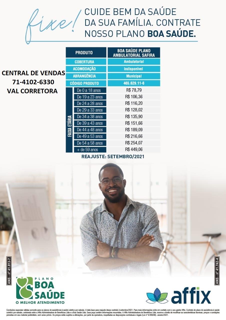 Tabela de Preços Planos de Saude Coletivo por Adesão - Salvador-Ba