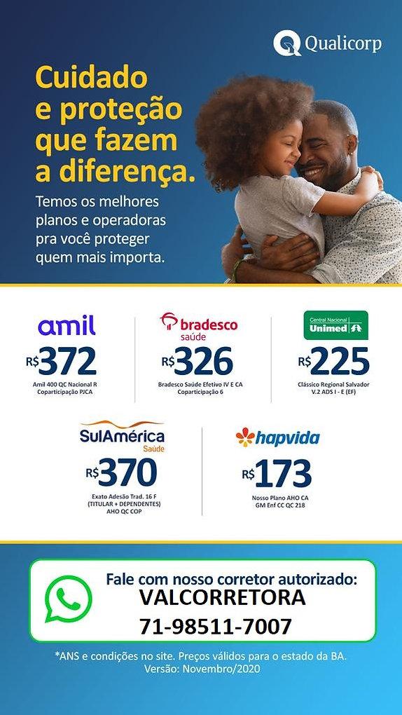 PLANOS DE SAUDE, Tabelas de Preços Qualicorp -Adesão-Bahia