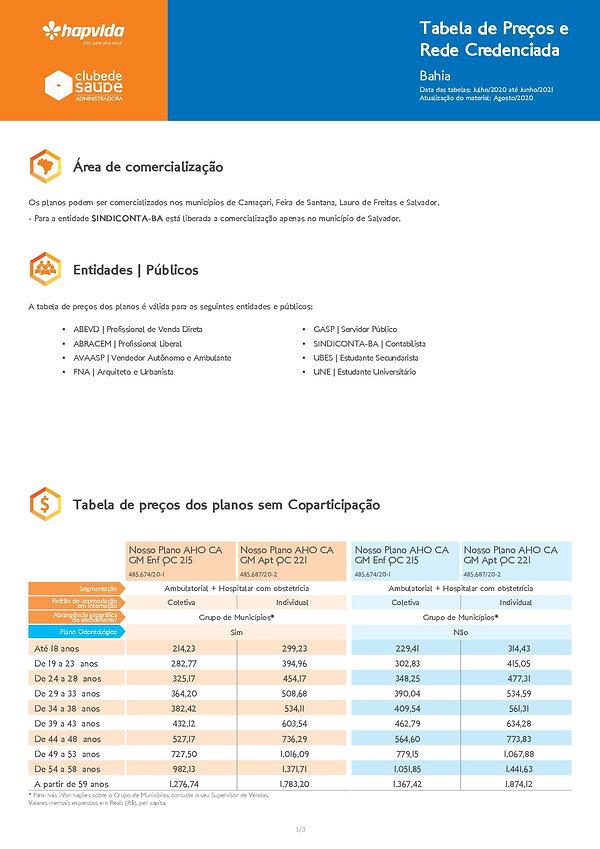 TABELA DE PREÇOS HAPVIDA SALVADOR - CLUBE DE SAUDE