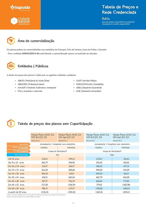 TABELAS HAPVIDA, Tabelas de preços plano de saúde Hapvida Clube de Saúde