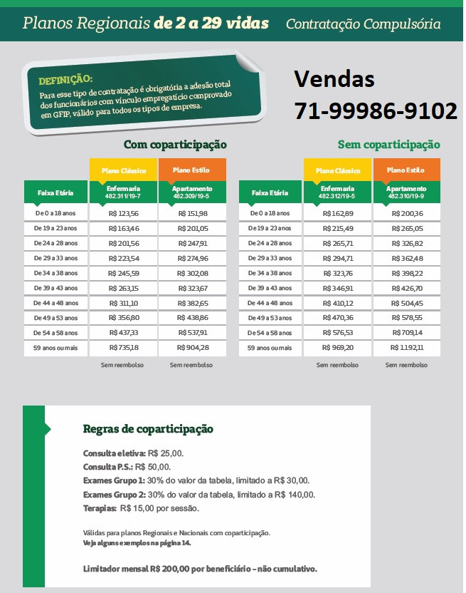 Vendas 71-98784-0037 Tabela Comparativa de preços Planos de Saude - BA