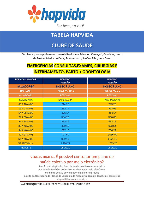 TABELAS ATUALIZADAS PLANO DE SAUDE HAPVIDA SALVADOR