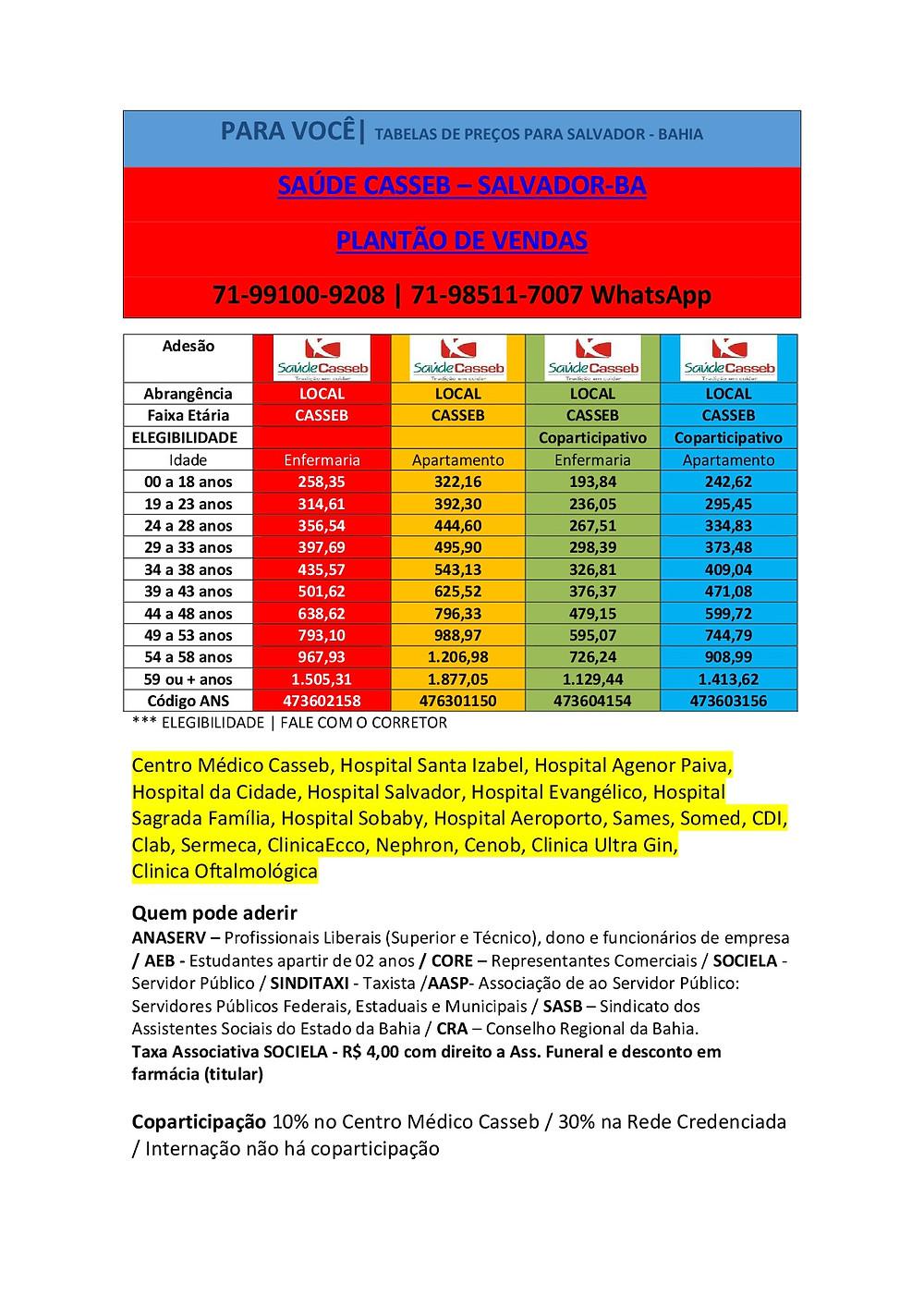 Tabelas de Preços plano de Saude na Bahia - Casseb Saude Adesão - Salvador