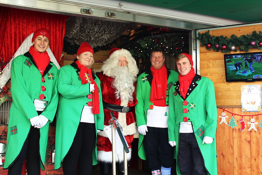 Santa and His Elves in his travelling grotto