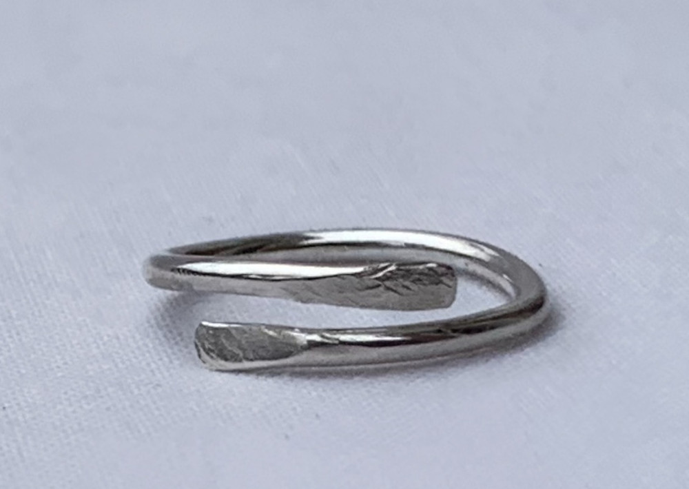 handmade dainty pinky mini eco recycled sterling silver texture