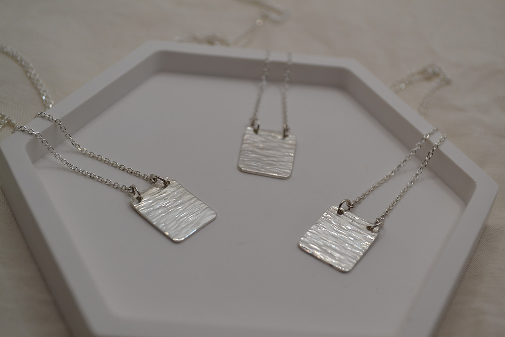 hammered silver pendant rectangle square necklace eco recycled silver
