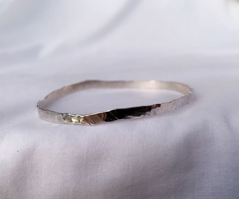 hammered silver bangle bracelet recycled