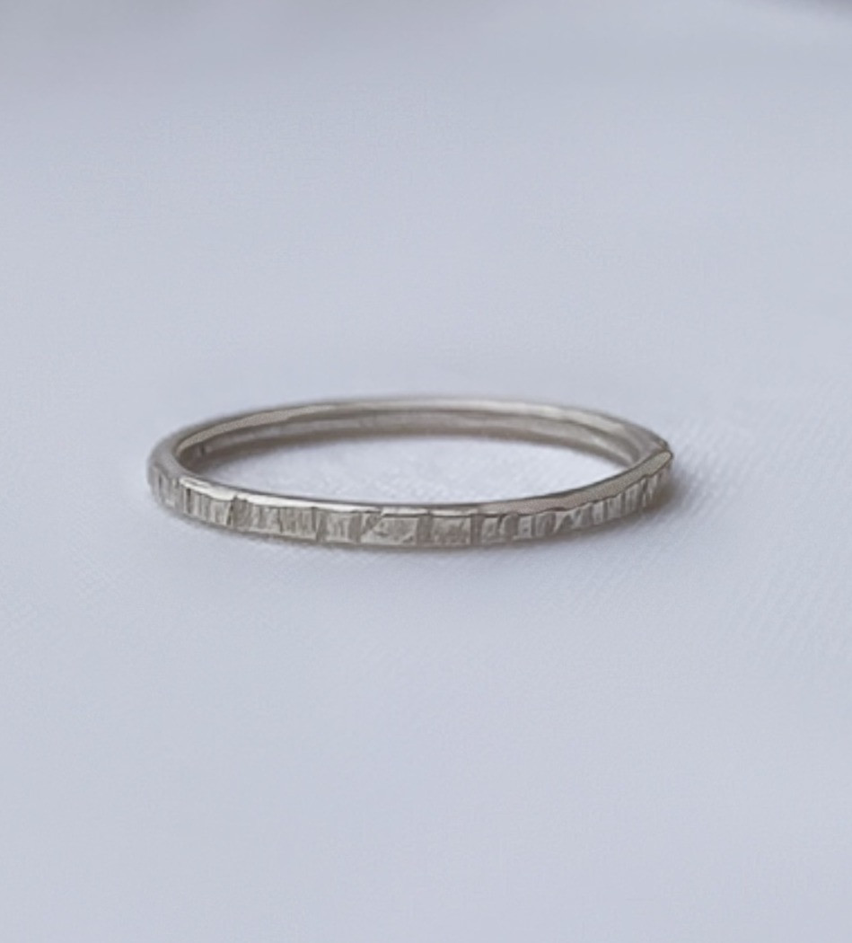 handmade hammered rustic dainty stacking ring eco recycled sterling silver