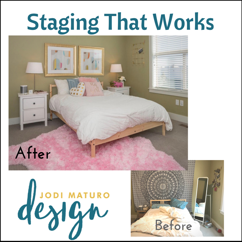 Staging Before and After photos of a bedroom