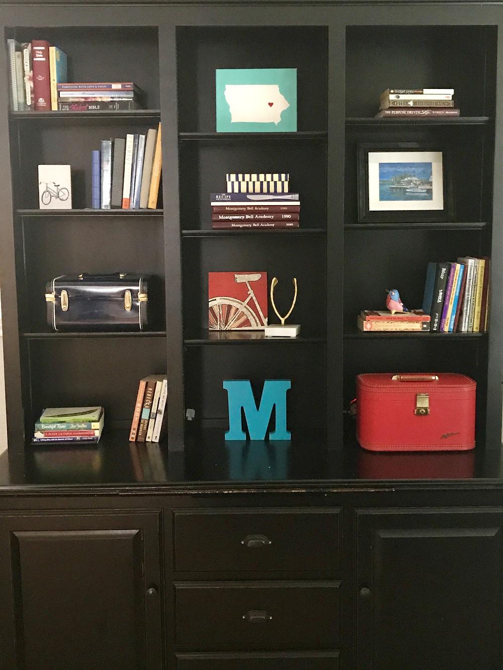 Styled, Decorative Bookshelf