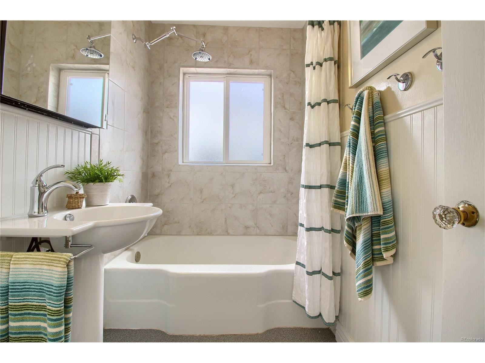 Teal and white bath by Jodi Maturo