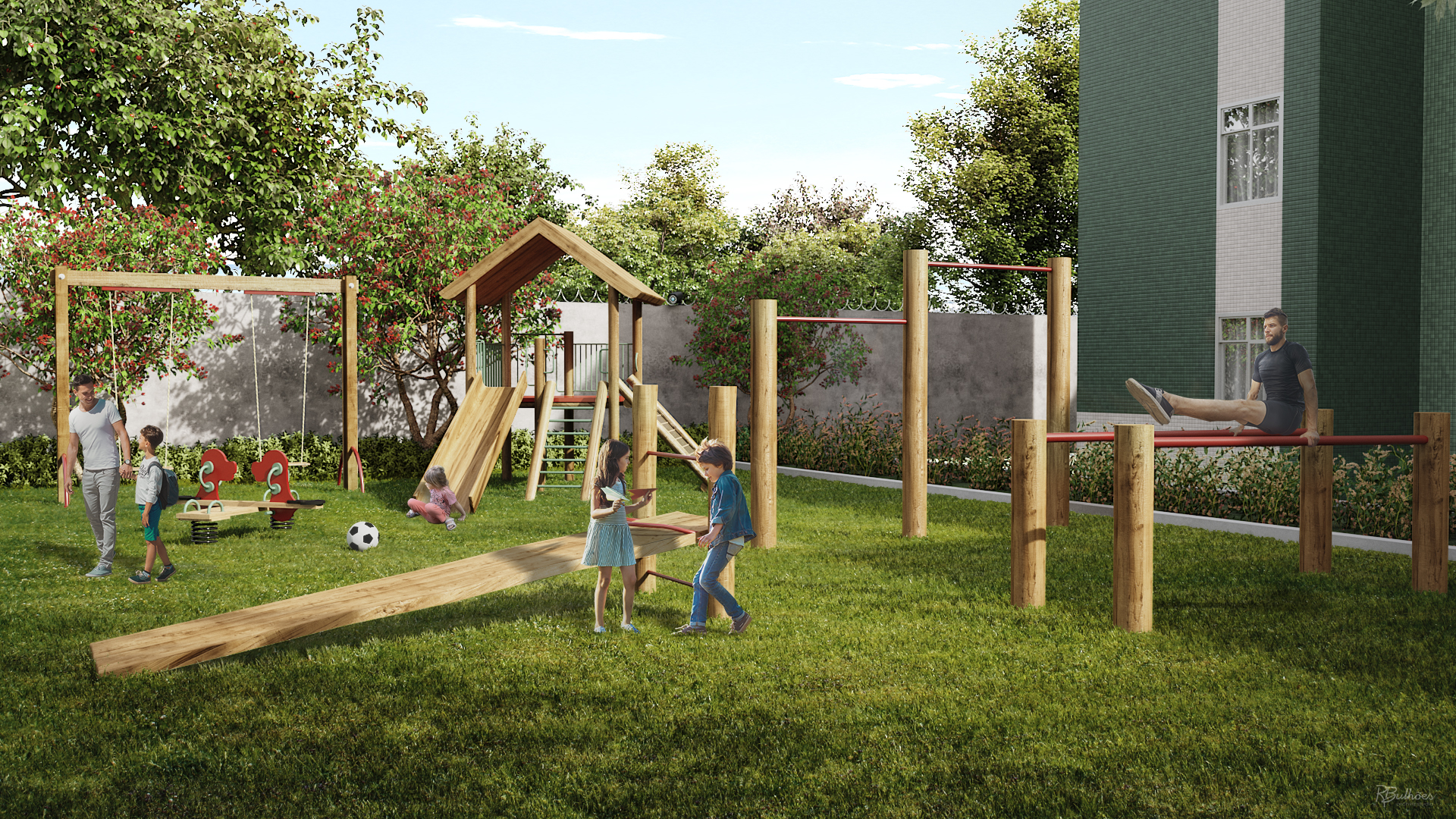 Parque infantil e Fitness externo