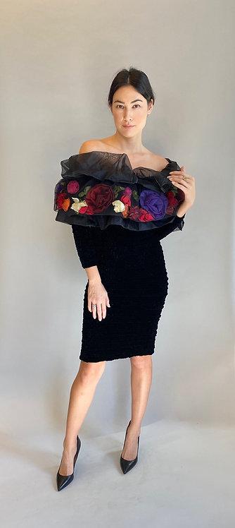 Hanae Mori Paris Floral Applique Chenille Off The Shoulder BodyCon Dress