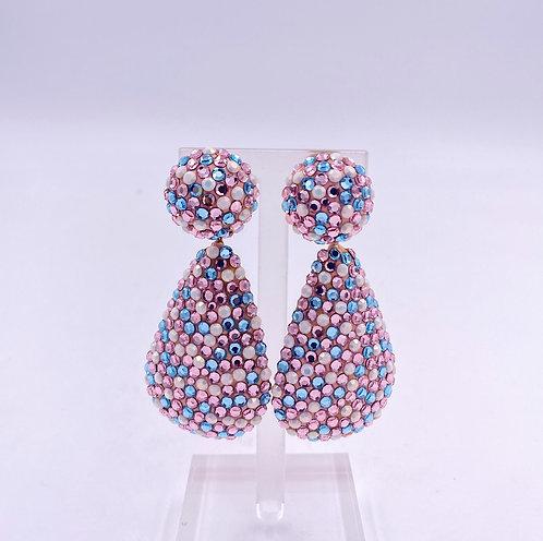 Richard Kerr Cotton Candy Crystal Clip Earrings