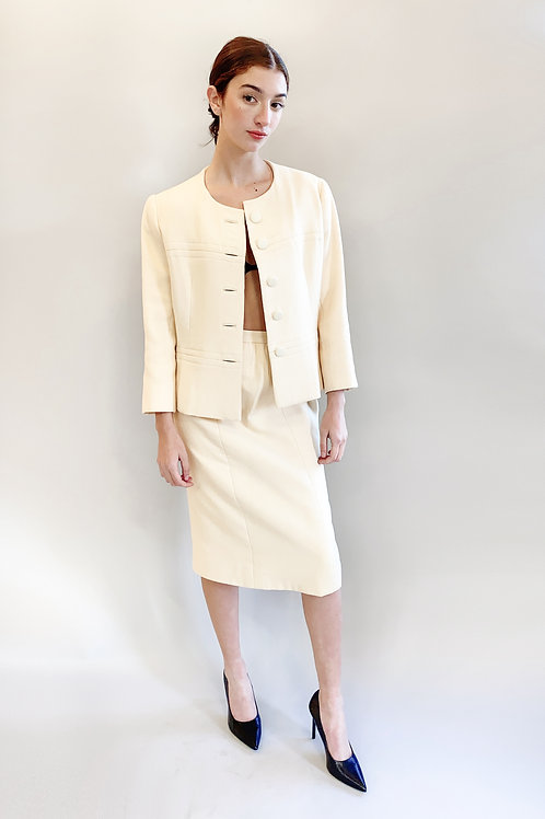 Balenciaga Numbered Couture White /Cream Skirt Suit Set