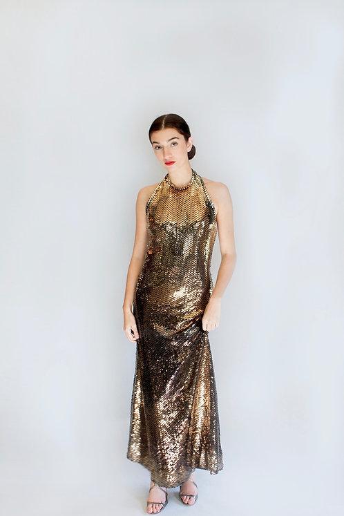 Giorgio Gold Sequin Halter Gown