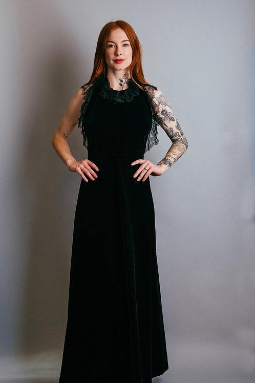 70's Montaldos Velvet Lace Halter Gown