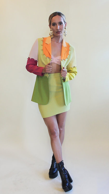 1995 Moschino 'Cheap and Chic' Colorblock Skirt Suit