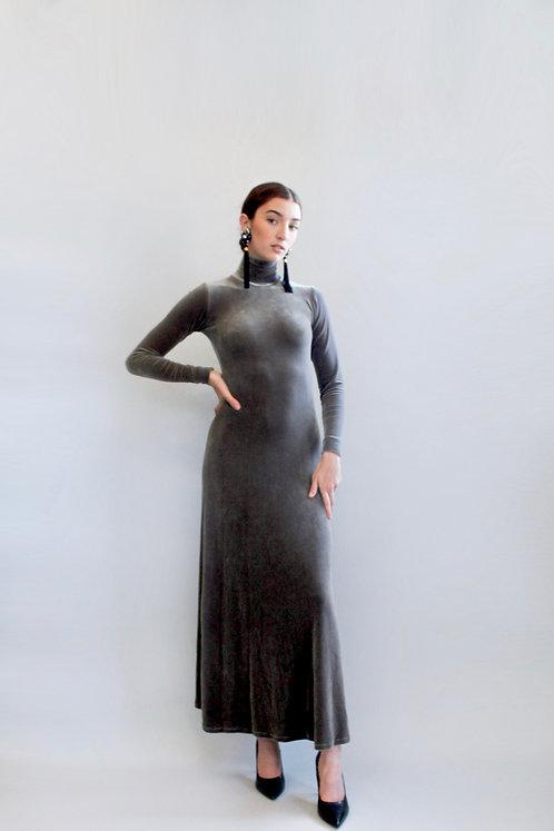 Fred Hayman Silk Velvet Mock Neck BodyCon Dress
