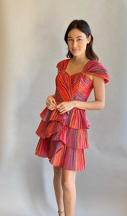 Rainbow Pleated Silk Ruffled Tiered Cocktail Dress