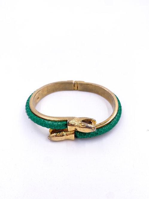 Green Snakeskin Bangle Bracelet