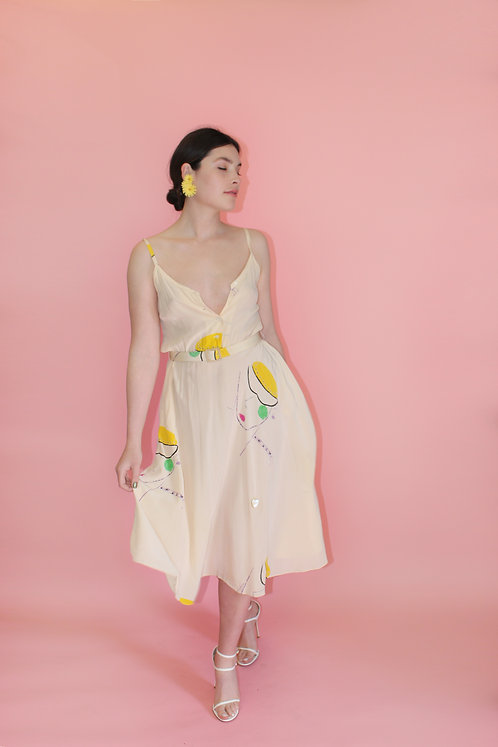 Giorgio of Beverly Hills Silk Sundress with Abstract Faces