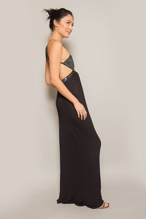 1995 Geoffrey Beene Jersey & Panne Velvet Gown