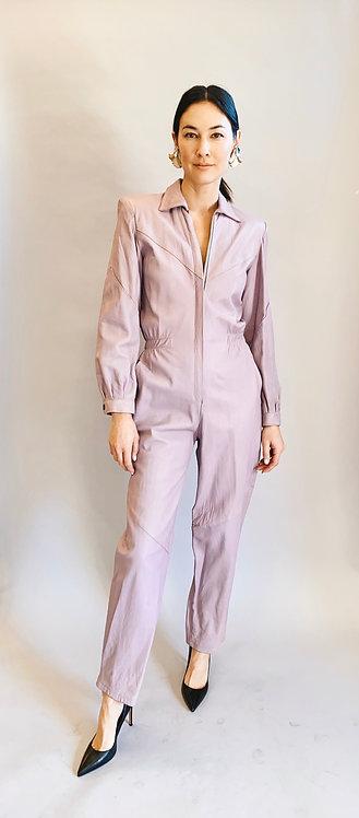 Lavender Leather 80's Jumpsuit