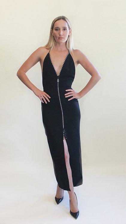 Geoffrey Beene 1989 Crystal Double  Zipper Gown