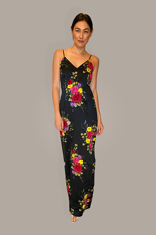 Adolfo Floral Slip Dress Front View