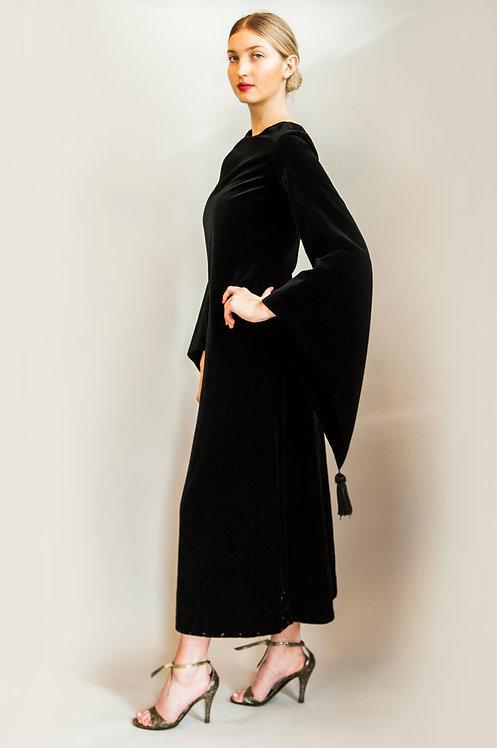 1970s YSL Velvet Robe Tassel Sleeve Dress