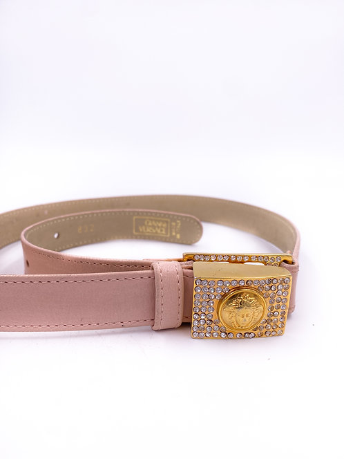 Gianni Versace Pink Leather Belt with Medusa Heads