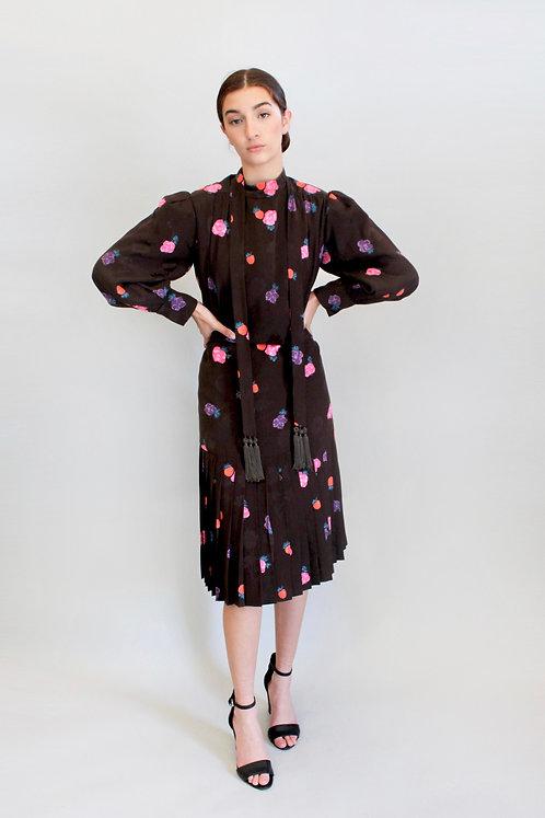 80's Michael Novarese Silk Floral Dress