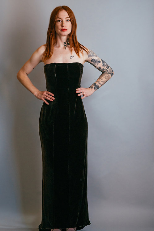 James Purcell Velvet Strapless Gown