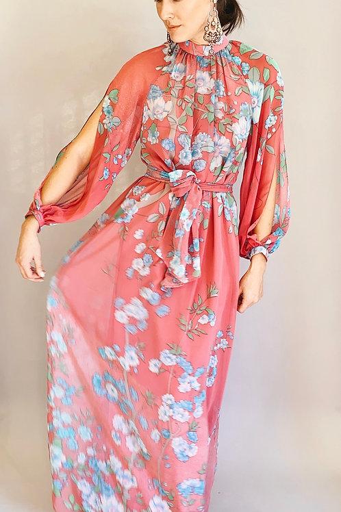 Hanae Mori Chiffon Floral Dress