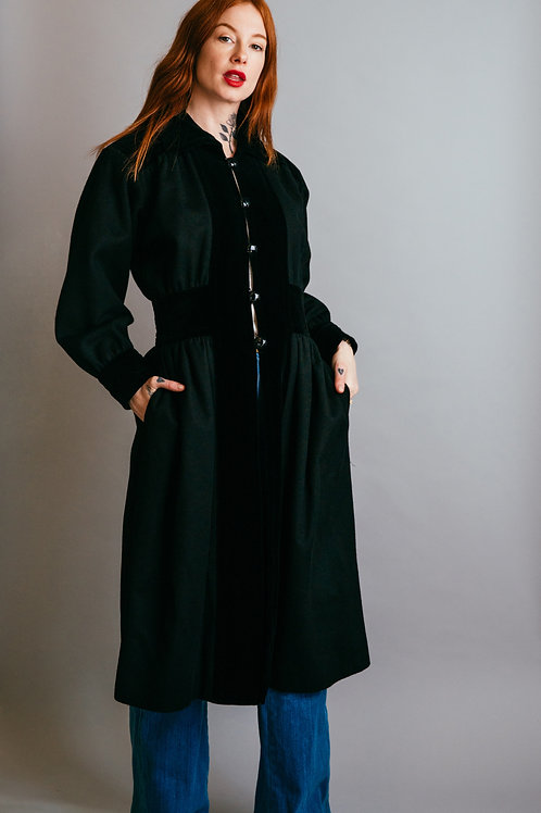 1976 Yves Saint Laurent Ballets Russes Collection Wool & Velvet Coat