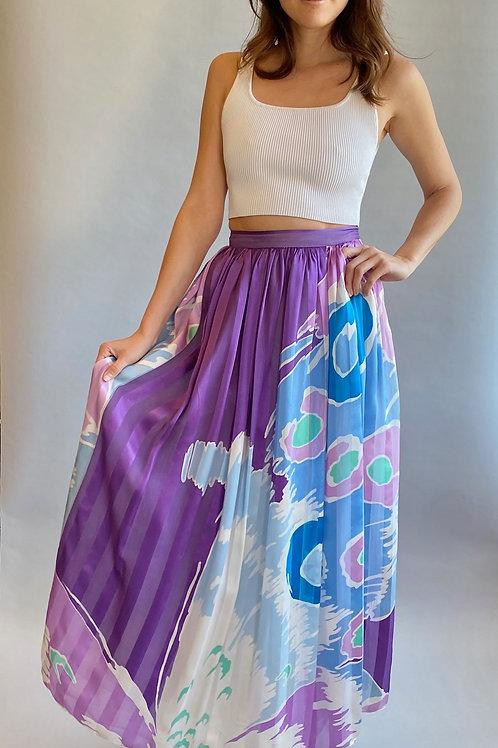 Hanae Mori Silk Printed Skirt