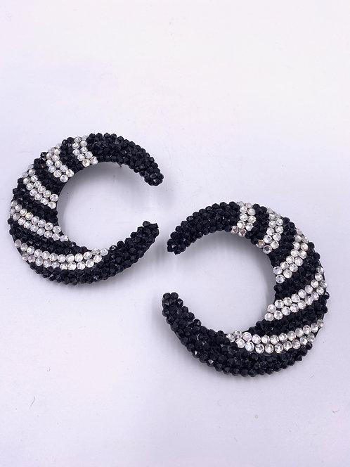 VTG 1980's Half Moon Black & White Large Rhinestone Earrings