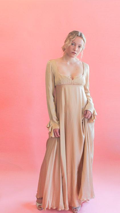 Jane Booke Empire Waist Gold Silk Dress