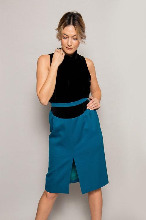 1980's Valentino Teal Blue Skirt w/ Velvet Trim