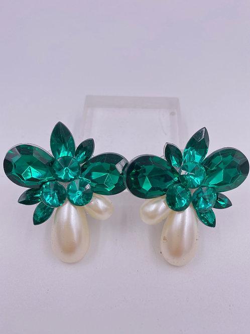 VTG Emerald & Pearl Cluster Clip Earrings