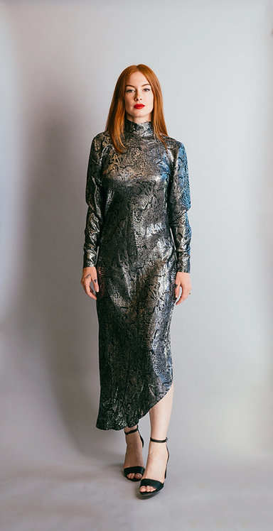 Vintage 1980's Jean Louis Scherrer Metallic Snake Print Dress