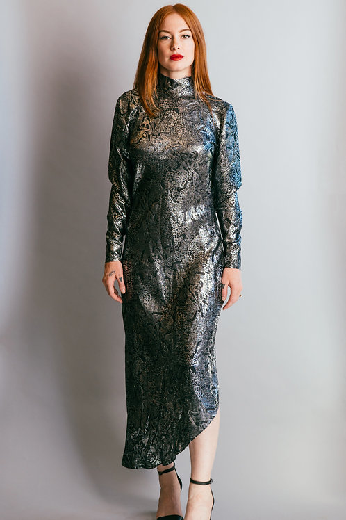 Vintage 1980's Jean Louis Scherrer Metallic Snake Print Dress