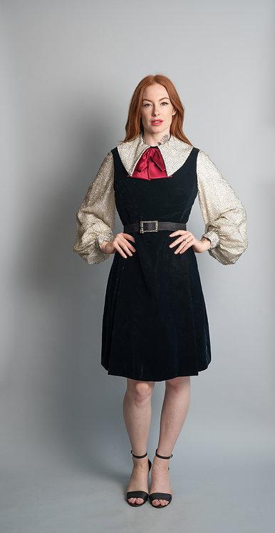 Vintage 1960's Senton Enterprises Ltd Black Velvet & Silver Beaded Collar Dress