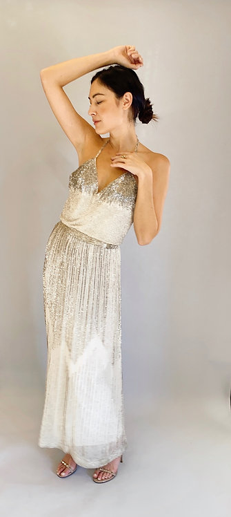 Alfred Bosand 1970's White Slip Dress with Silver Bugle Beading