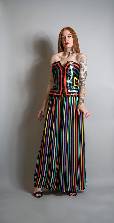 Ann Lawrence Striped Sequin Bustier and Pant Set