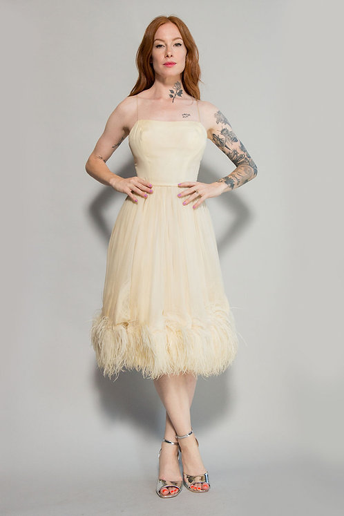 60s Ostrich Feather Cocktail Dress